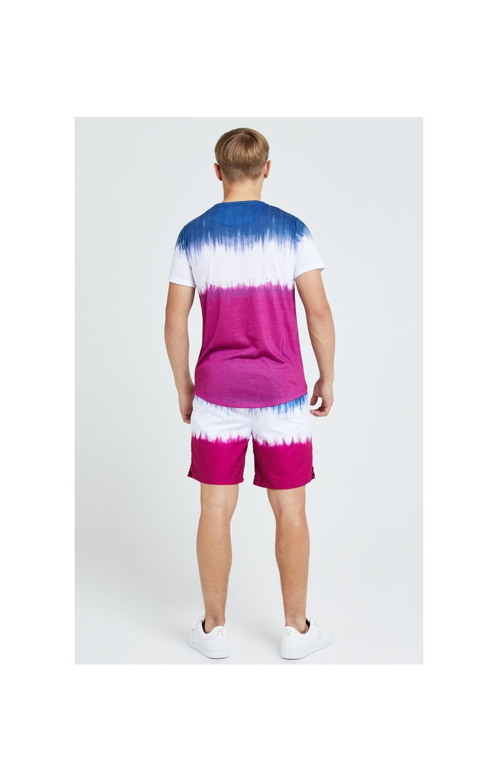 Load image into Gallery viewer, Illusive London Tie Fade Swim Shorts - Indigo, White & Pink (7)