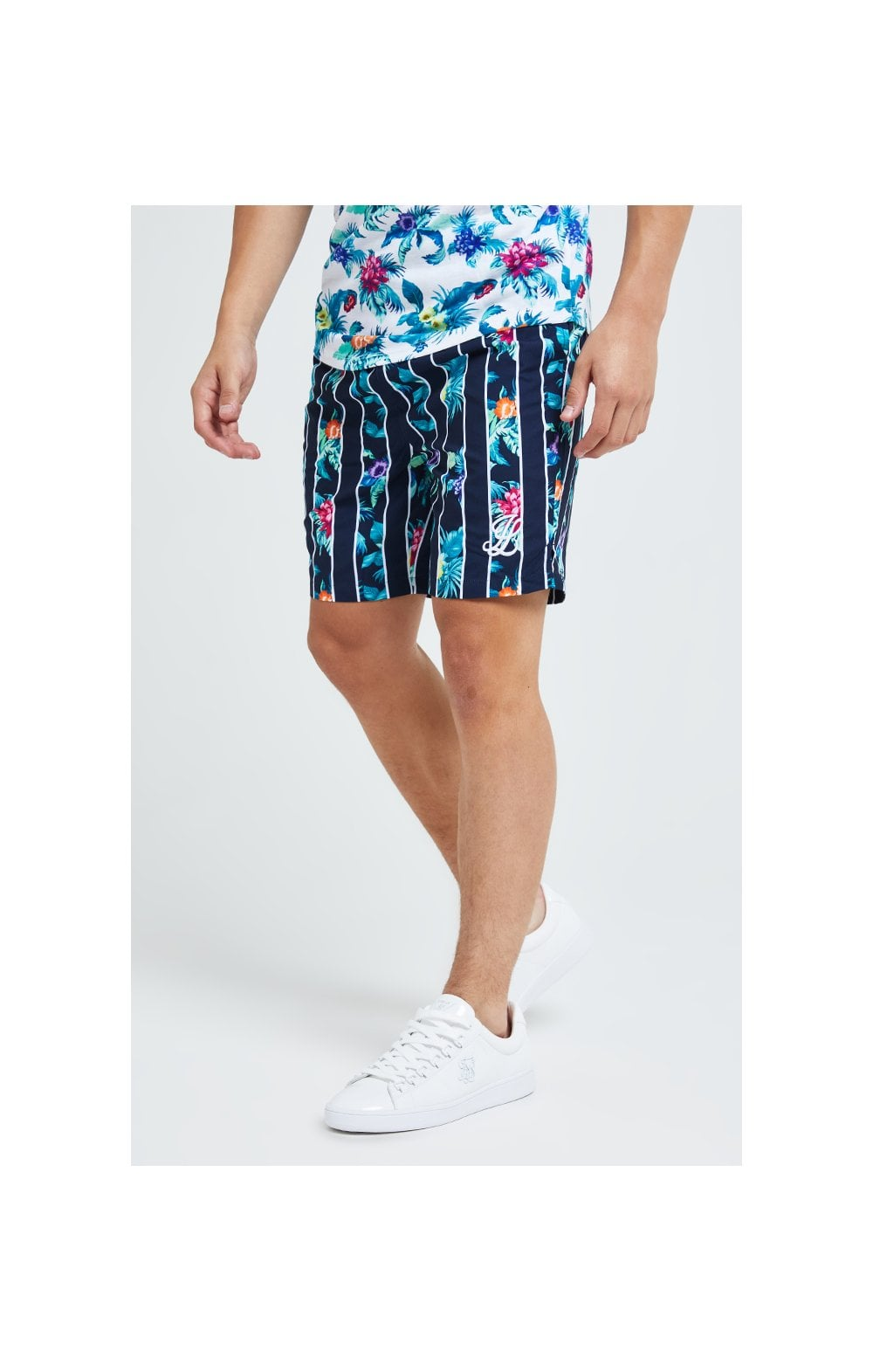 Illusive London Floral Stripe Swim Shorts - Navy & Floral