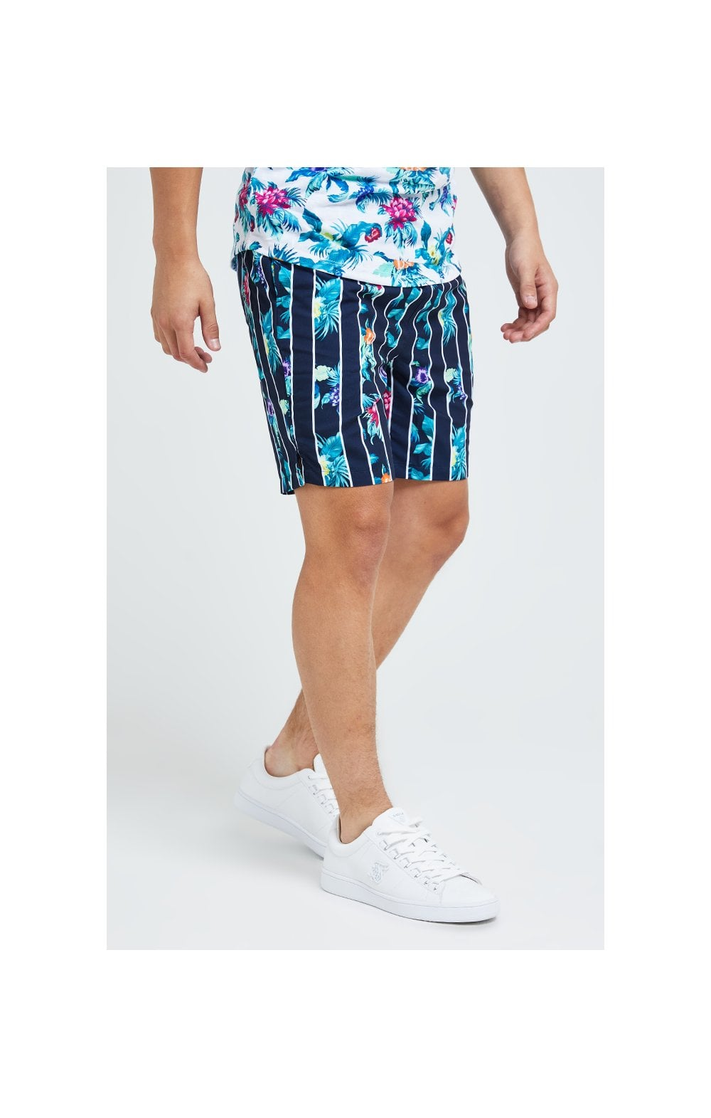 Illusive London Floral Stripe Swim Shorts - Navy & Floral (1)