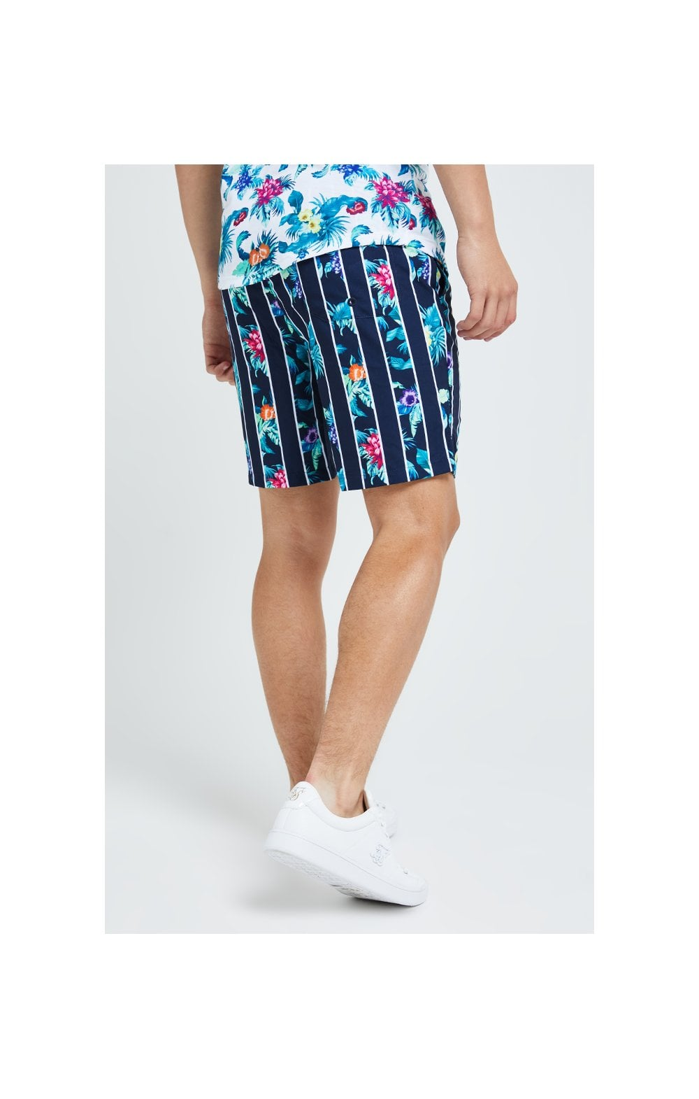 Illusive London Floral Stripe Swim Shorts - Navy & Floral (2)