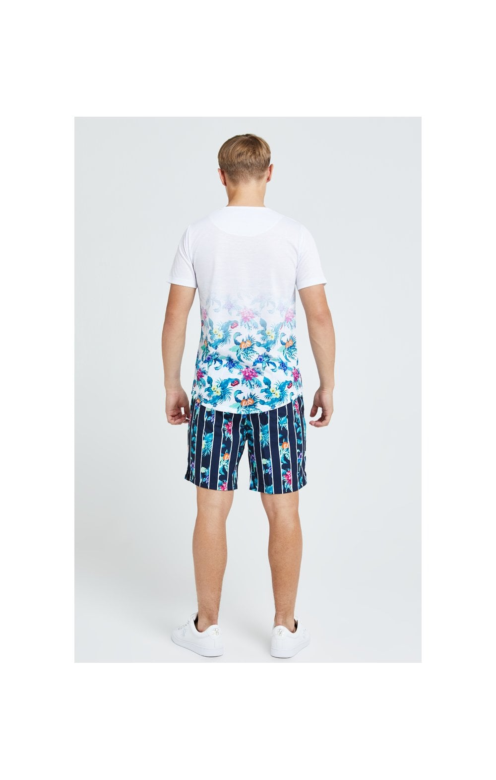 Illusive London Floral Stripe Swim Shorts - Navy & Floral (6)
