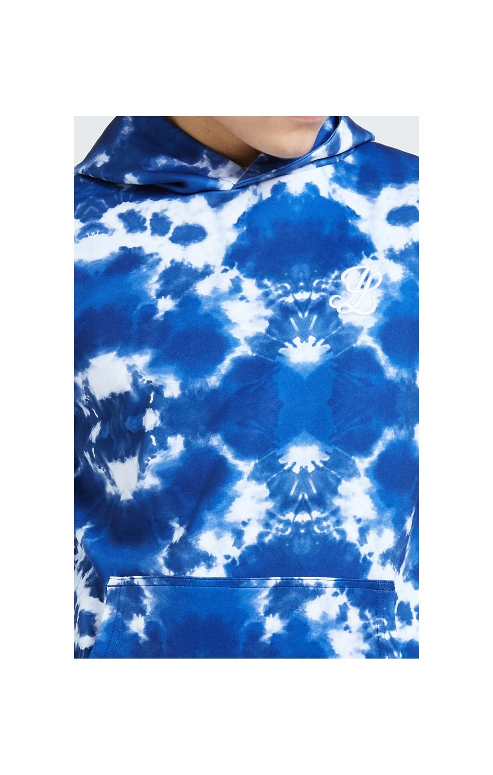 Illusive London Tie Dye Print Hoodie - Blue & White (1)