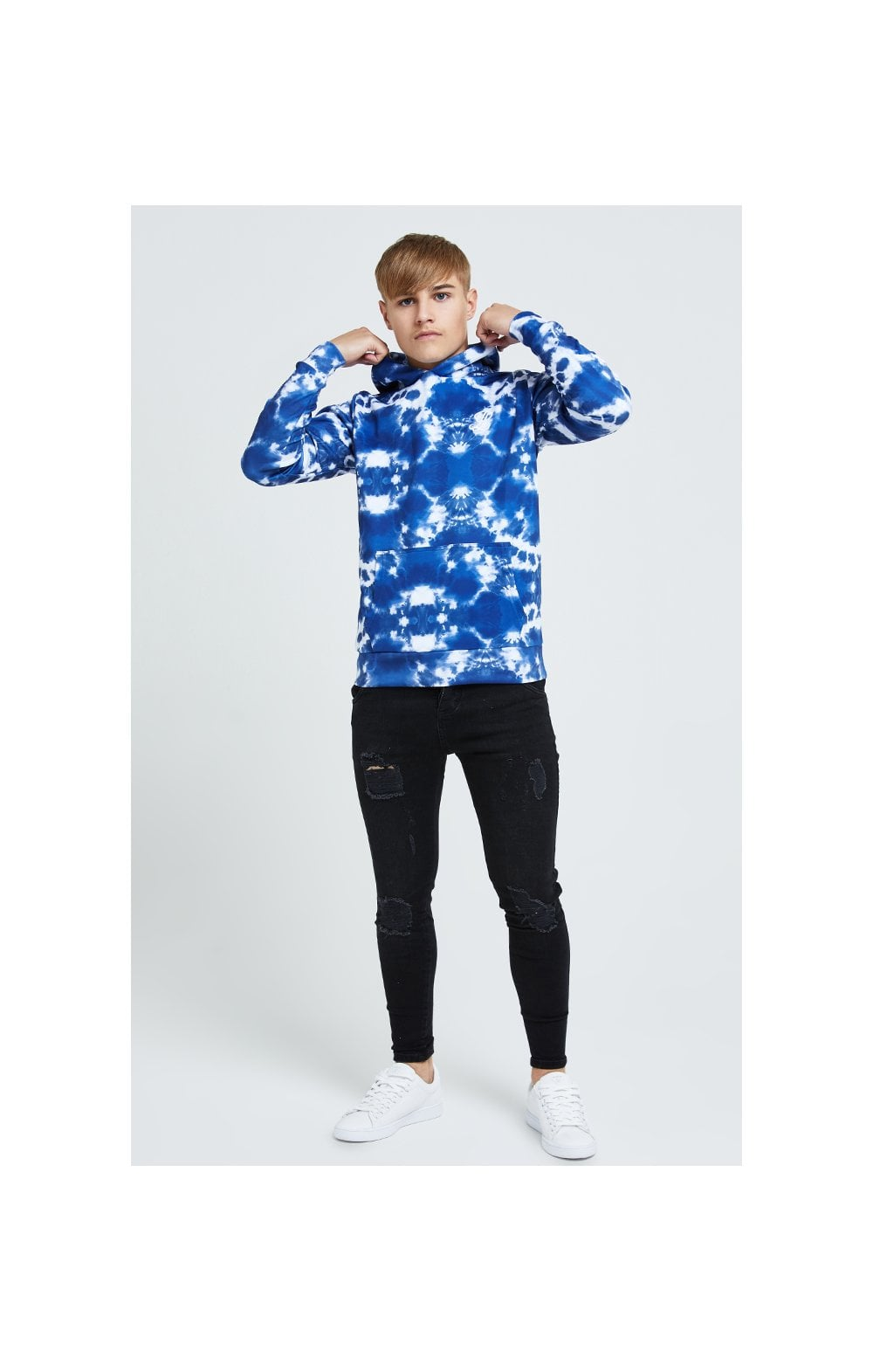 Illusive London Tie Dye Print Hoodie - Blue & White