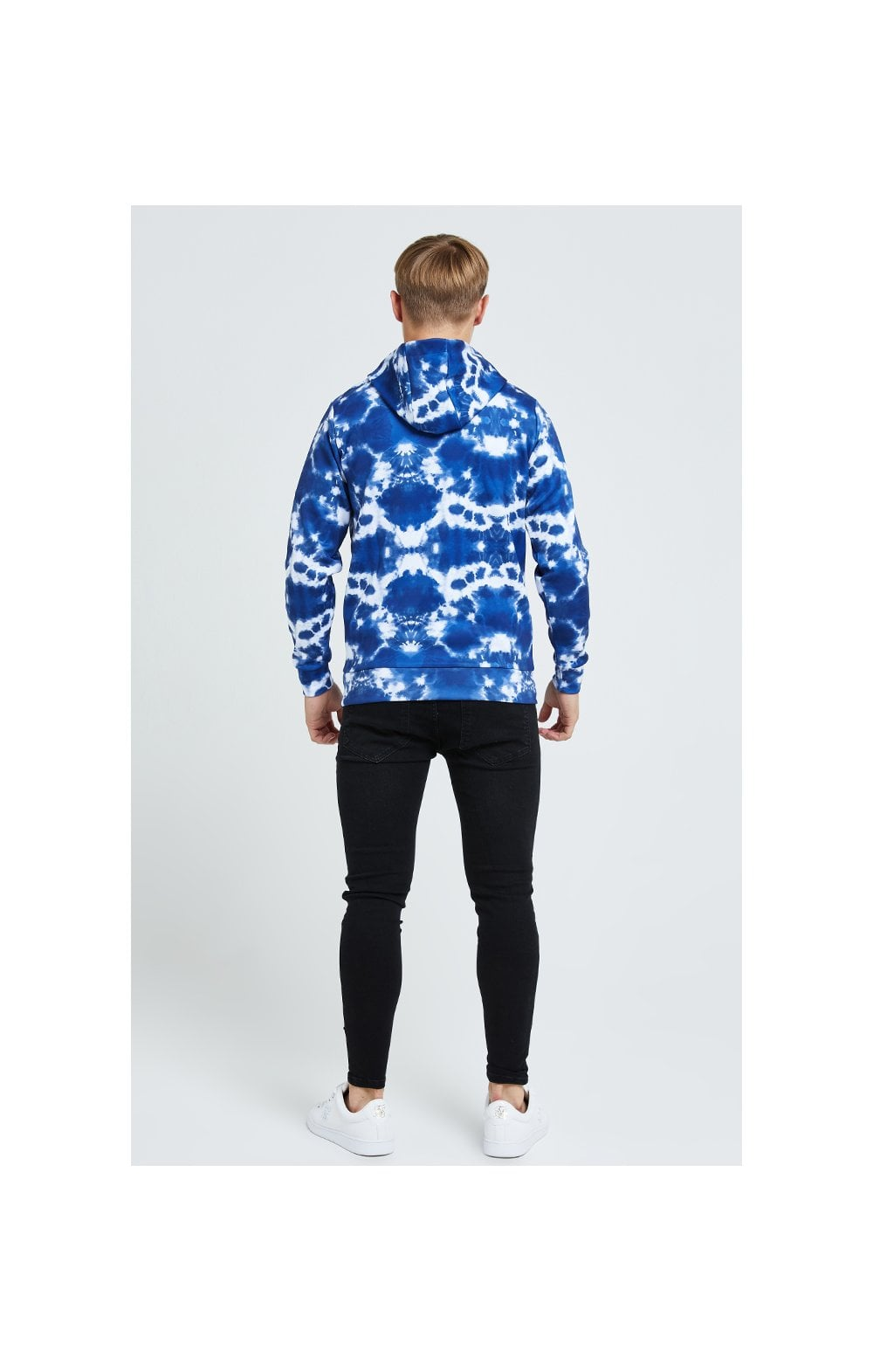 Illusive London Tie Dye Print Hoodie - Blue & White (4)