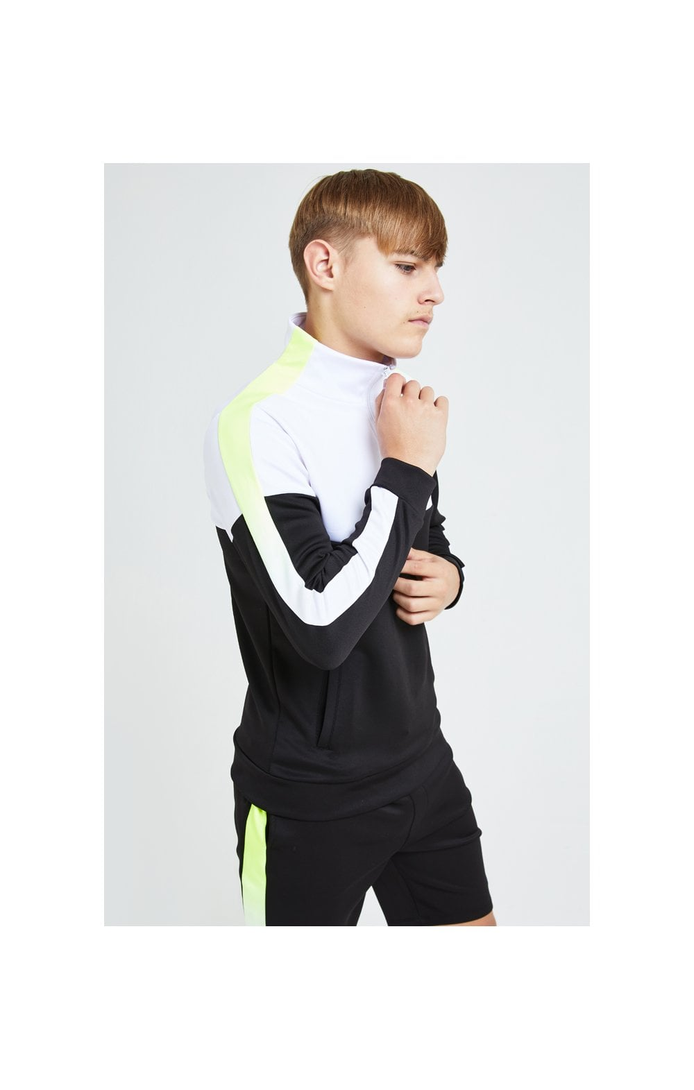 Load image into Gallery viewer, Illusive London Fade Funnel Neck Hoodie - Black,White & Neon Yellow (3)