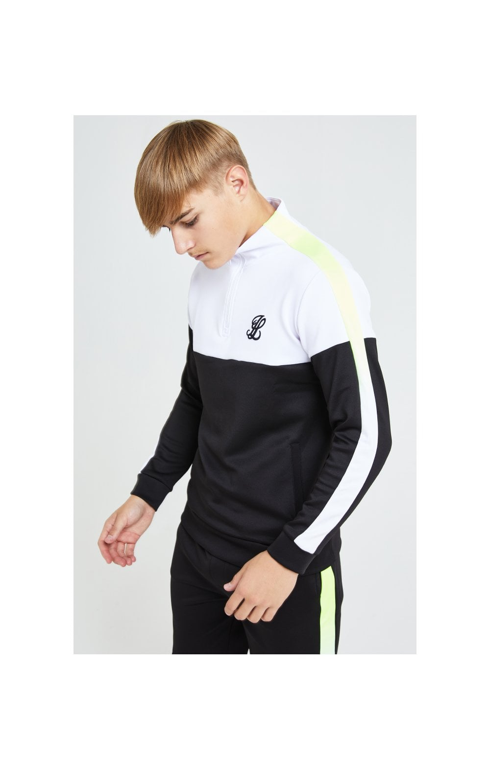 Load image into Gallery viewer, Illusive London Fade Funnel Neck Hoodie - Black,White & Neon Yellow (4)