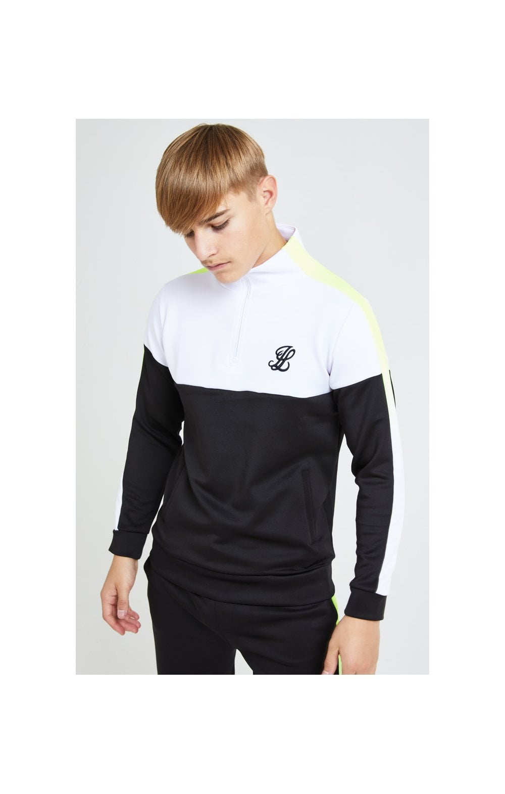 Load image into Gallery viewer, Illusive London Fade Funnel Neck Hoodie - Black,White & Neon Yellow (5)
