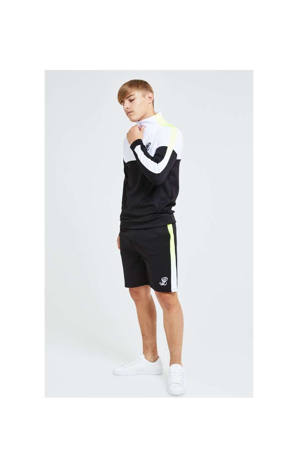 Load image into Gallery viewer, Illusive London Fade Funnel Neck Hoodie - Black,White & Neon Yellow (6)