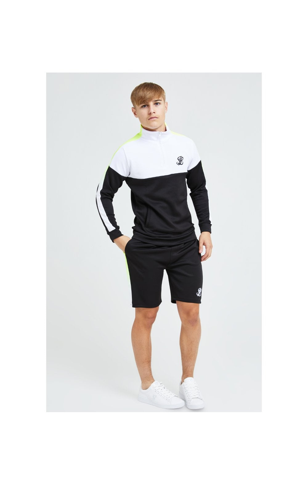 Load image into Gallery viewer, Illusive London Fade Funnel Neck Hoodie - Black,White & Neon Yellow (7)