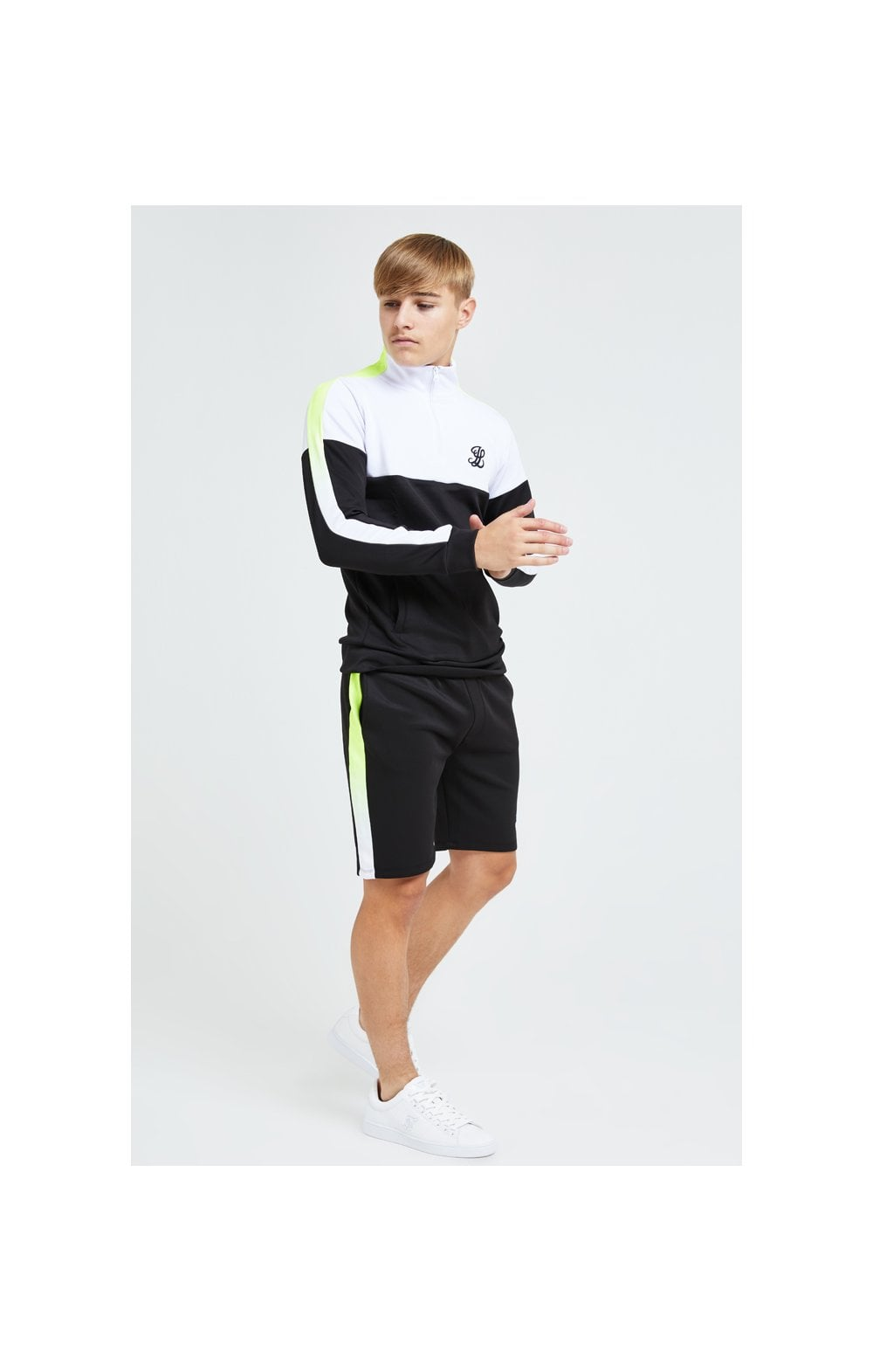 Load image into Gallery viewer, Illusive London Fade Funnel Neck Hoodie - Black,White & Neon Yellow (8)