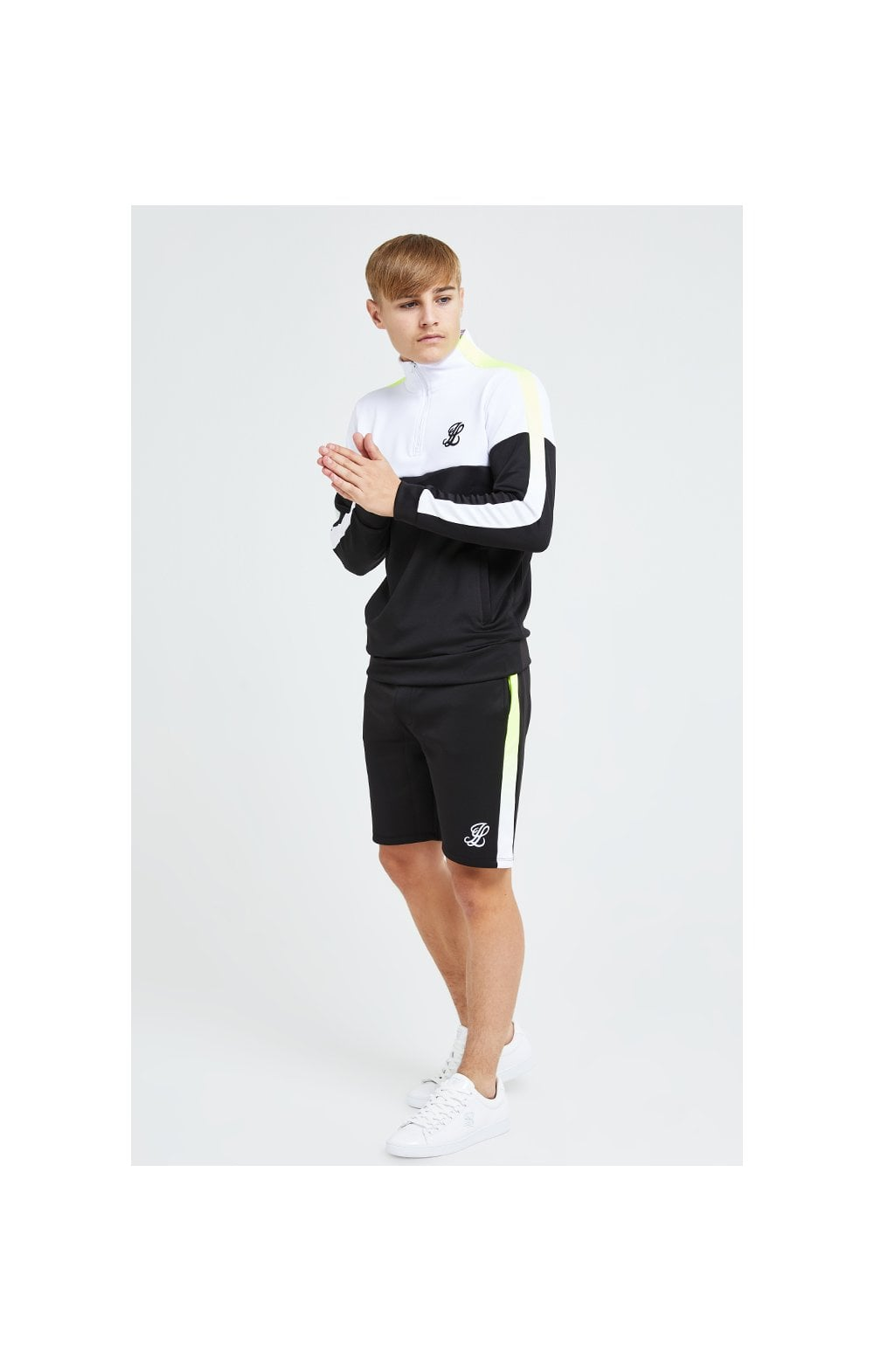 Load image into Gallery viewer, Illusive London Fade Funnel Neck Hoodie - Black,White & Neon Yellow (10)