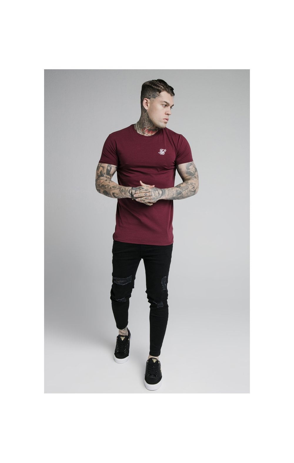 SikSilk Straight Hem Gym Tee - Burgundy (1)