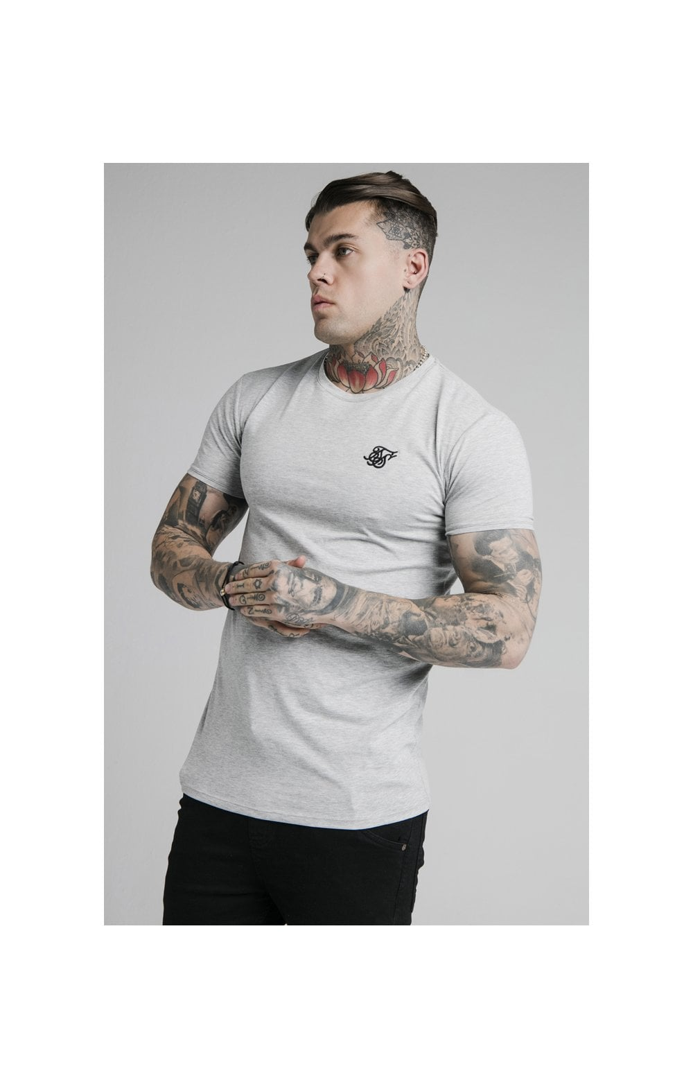 SikSilk Straight Hem Gym Tee - Grey Marl