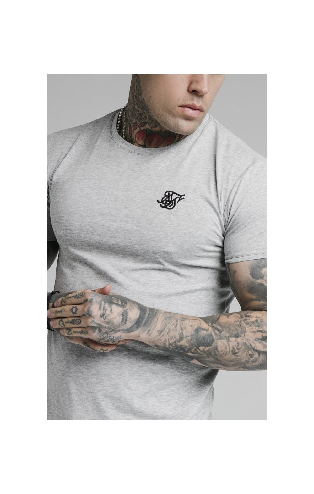 SikSilk Straight Hem Gym Tee - Grey Marl (1)