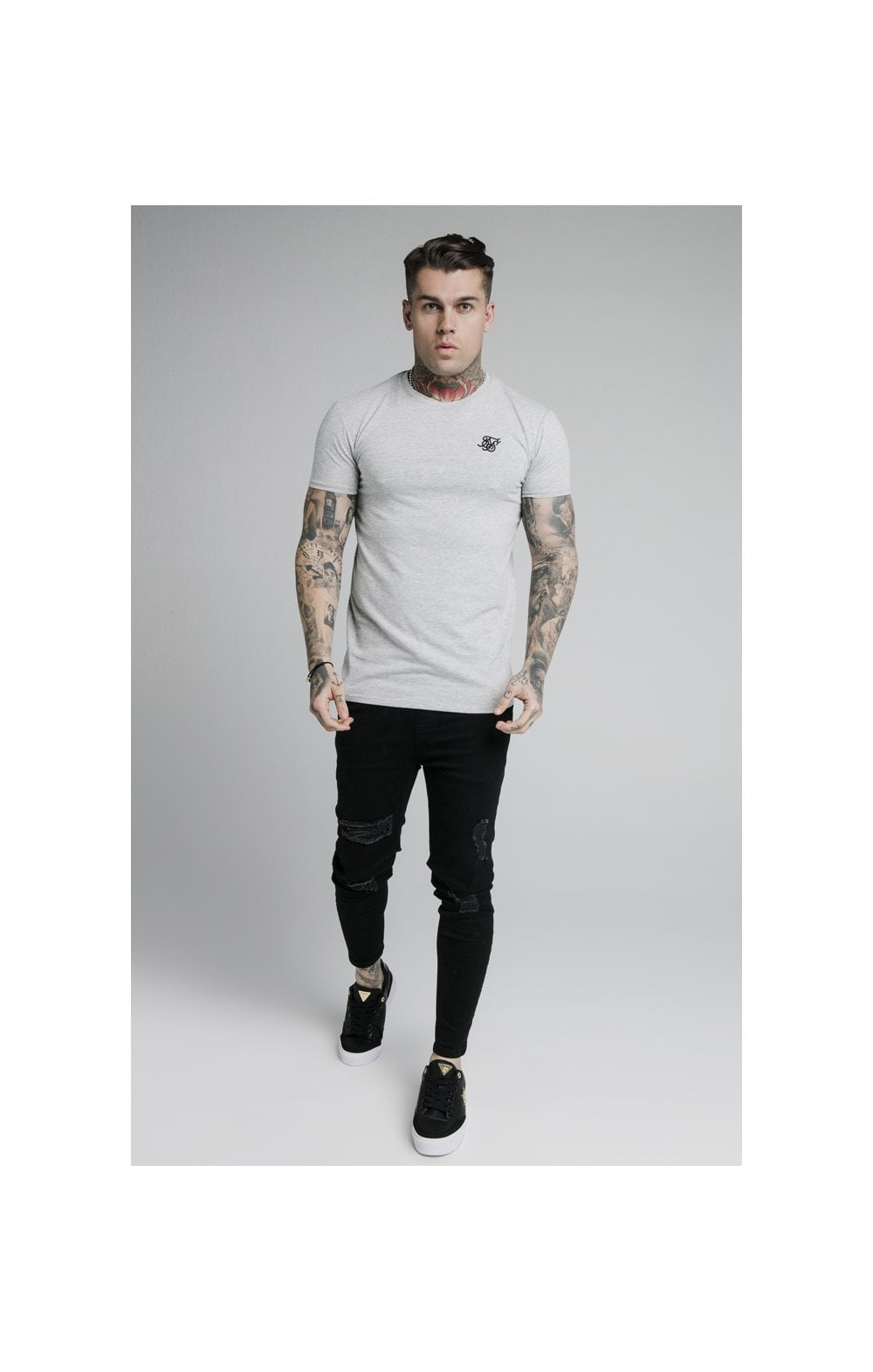 SikSilk Straight Hem Gym Tee - Grey Marl (2)