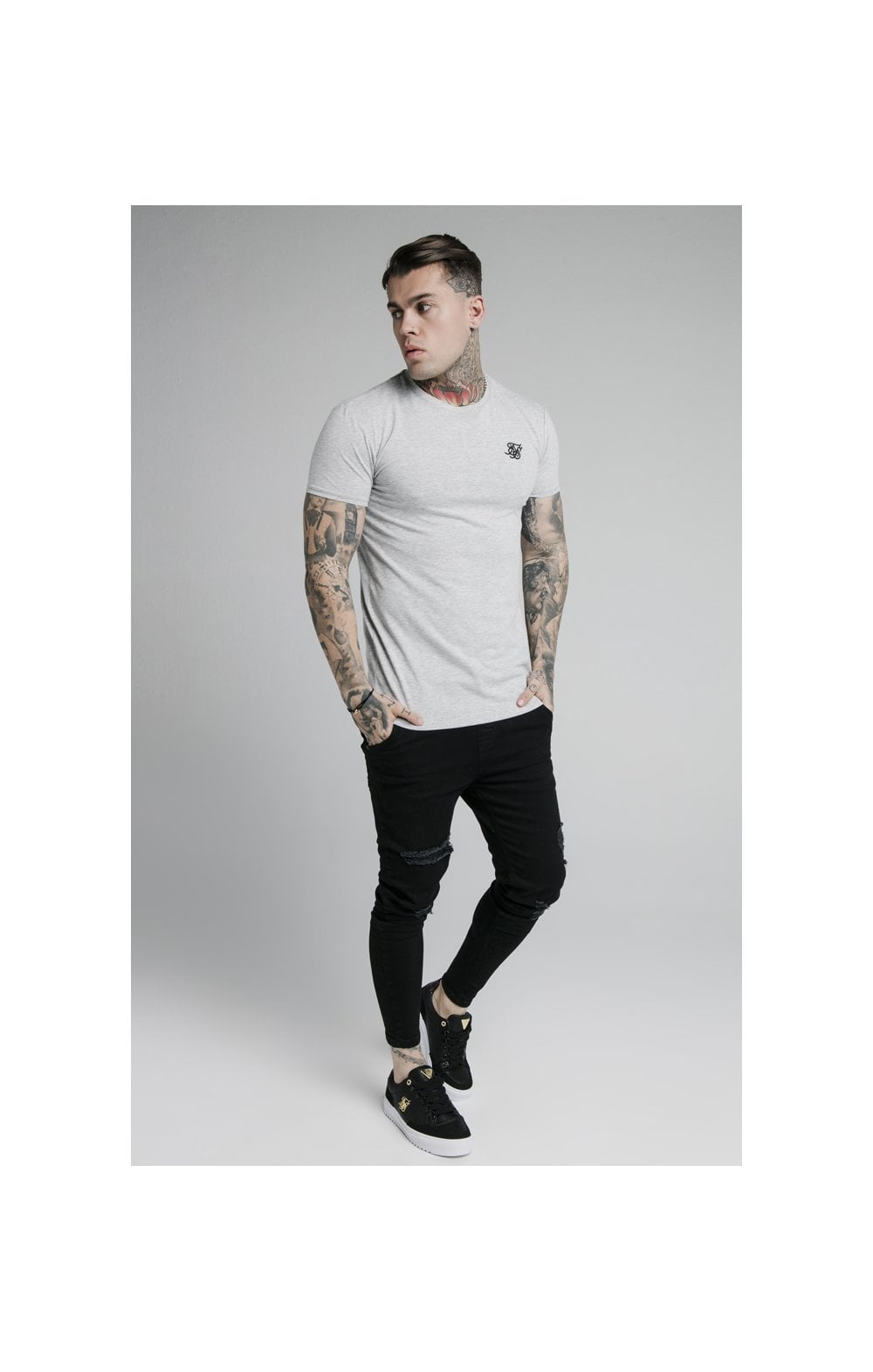 SikSilk Straight Hem Gym Tee - Grey Marl (3)