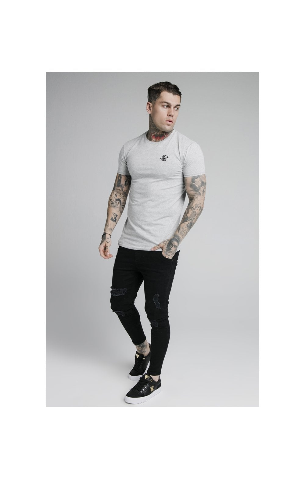 SikSilk Straight Hem Gym Tee - Grey Marl (4)