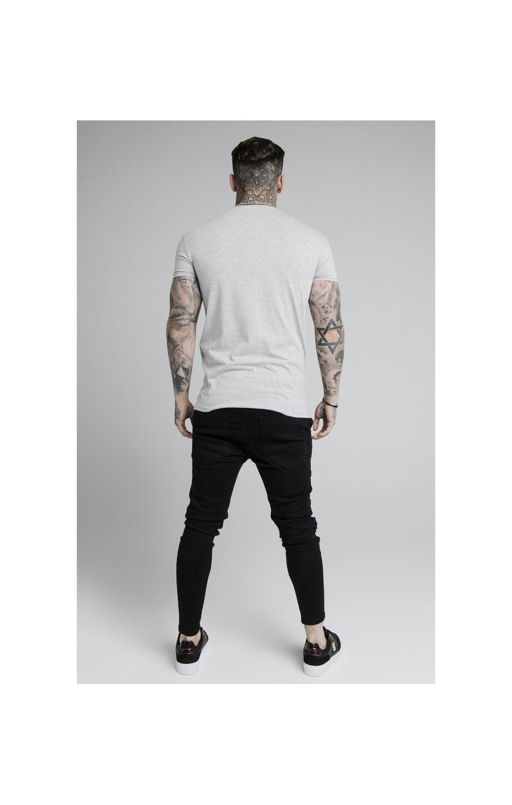SikSilk Straight Hem Gym Tee - Grey Marl (5)