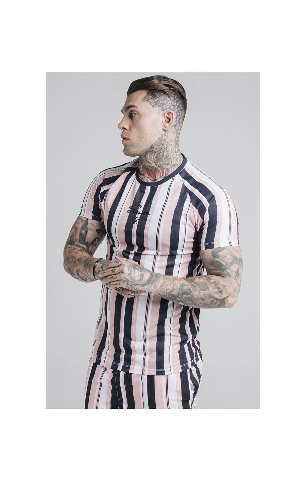 SikSilk Raglan Tech Tee - Navy, Pink & White