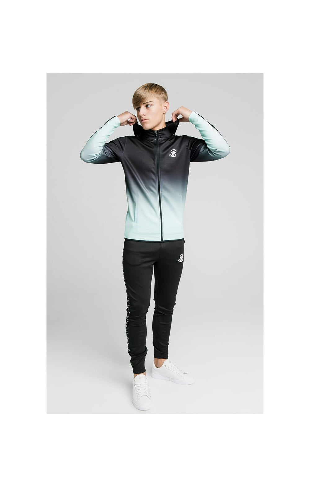 Load image into Gallery viewer, Illusive London Fade Scope Zip Through Hoodie - Black & Mint (2)