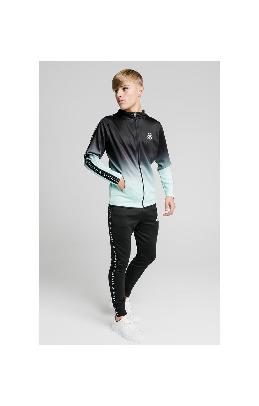 Load image into Gallery viewer, Illusive London Fade Scope Zip Through Hoodie - Black & Mint (3)