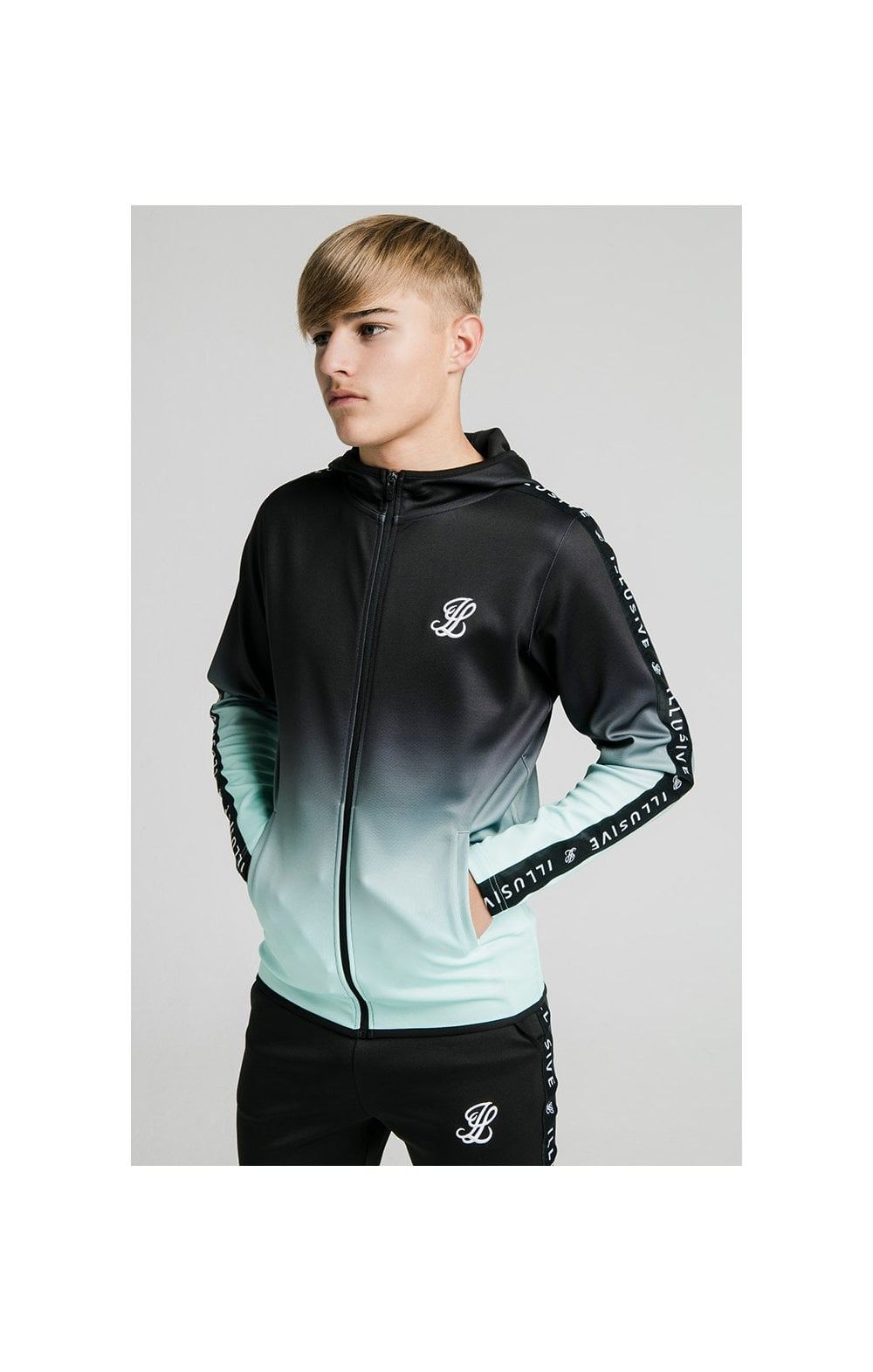 Illusive London Fade Scope Zip Through Hoodie - Black & Mint