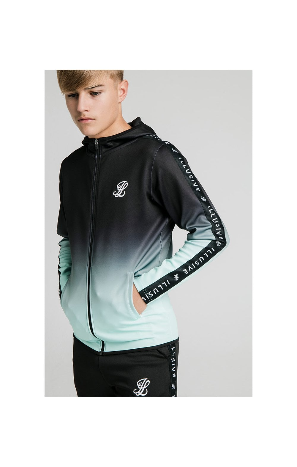 Load image into Gallery viewer, Illusive London Fade Scope Zip Through Hoodie - Black & Mint (1)