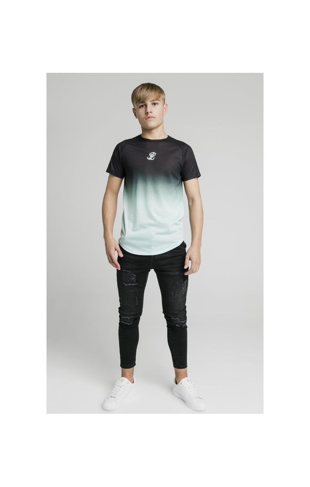 Illusive London Tape Fade Logo Tee - Black & Mint (4)