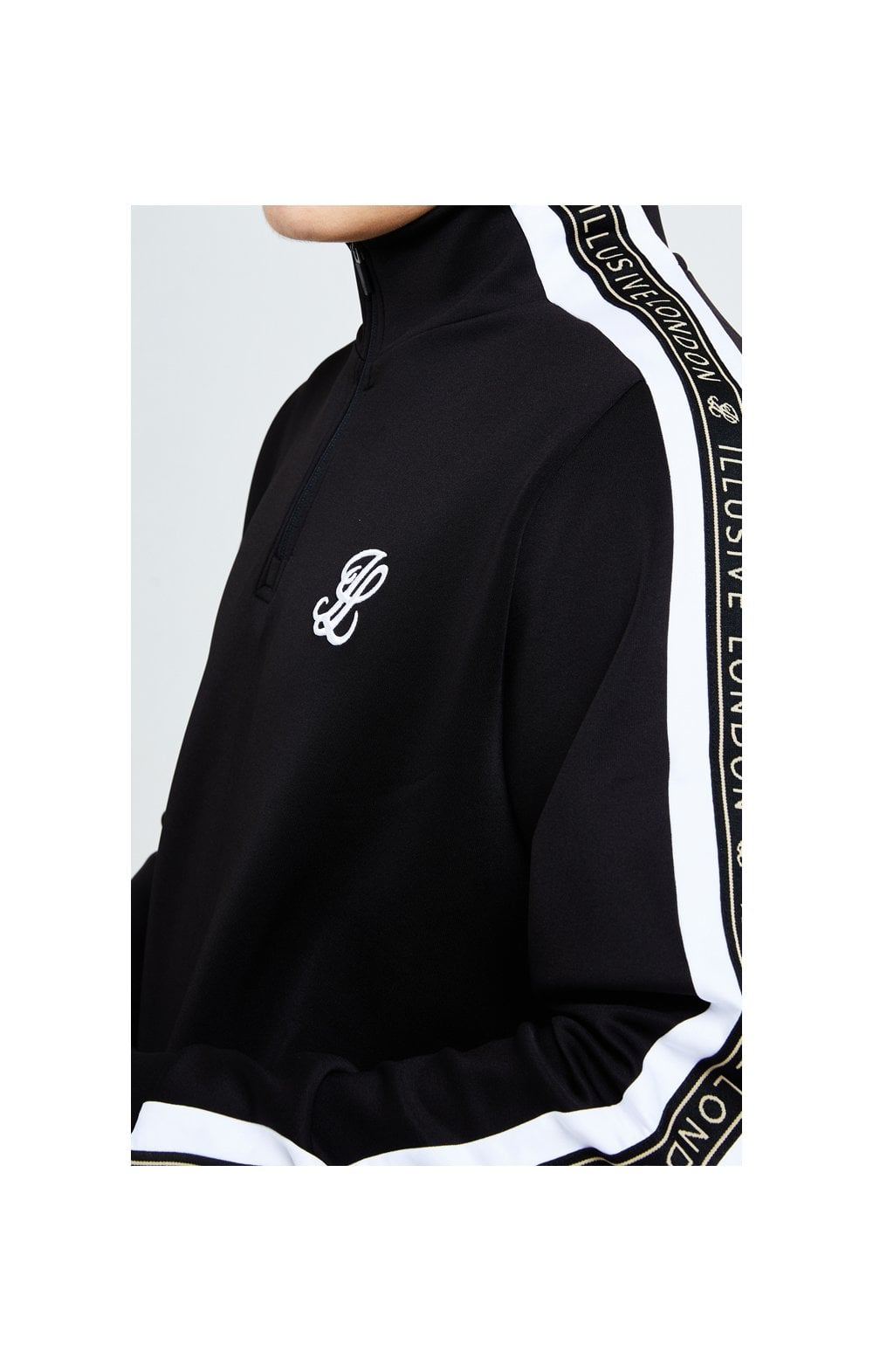 Illusive London Diverge 1/4 Zip Hoodie Black Gold & White (2)