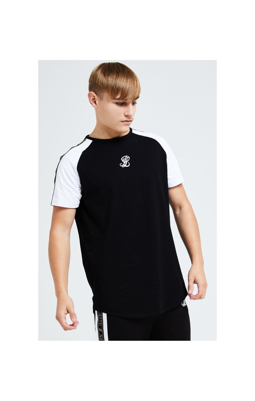 Load image into Gallery viewer, Illusive London Diverge Raglan Tee - Black Gold & White