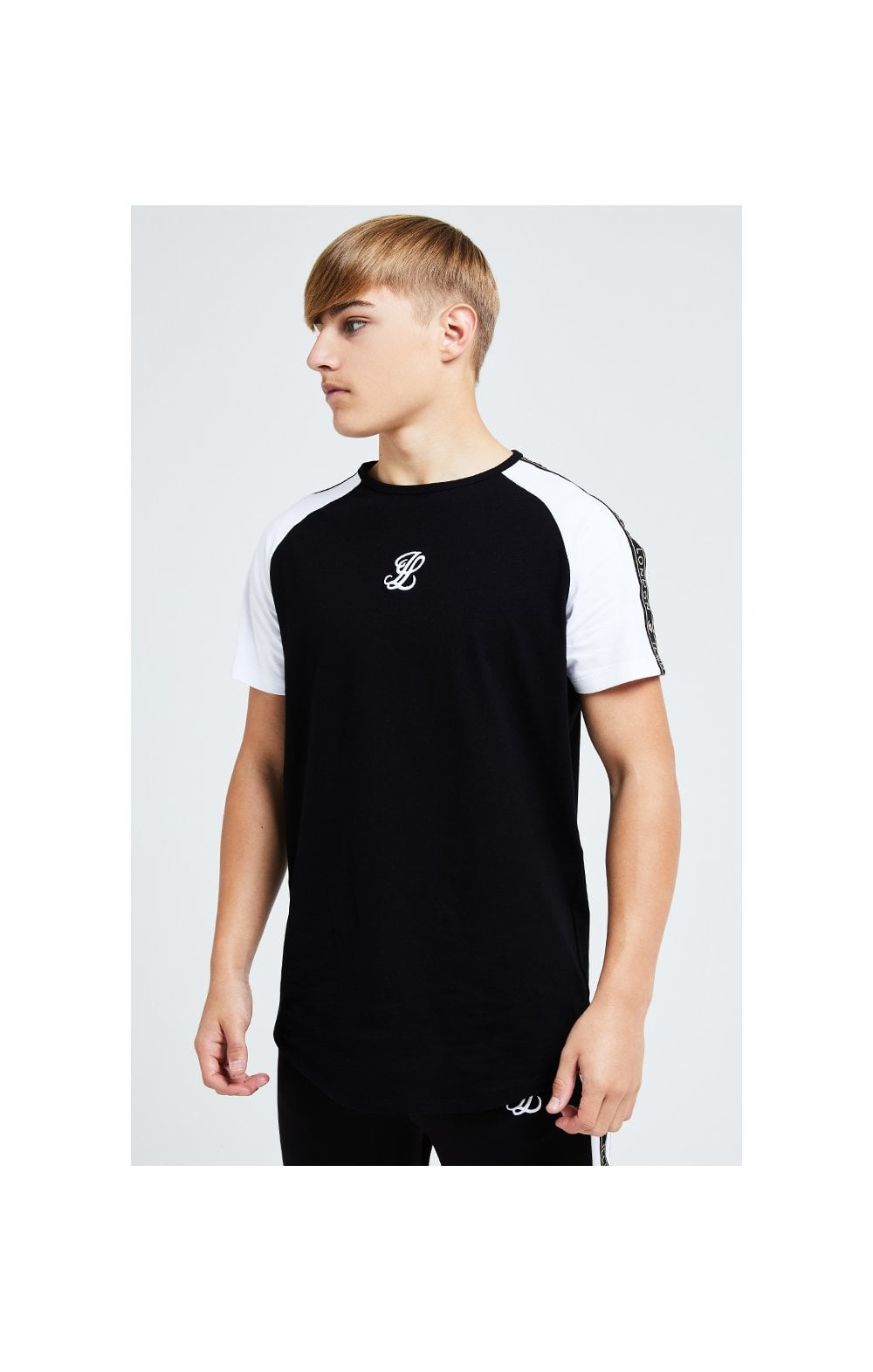 Load image into Gallery viewer, Illusive London Diverge Raglan Tee - Black Gold & White (2)