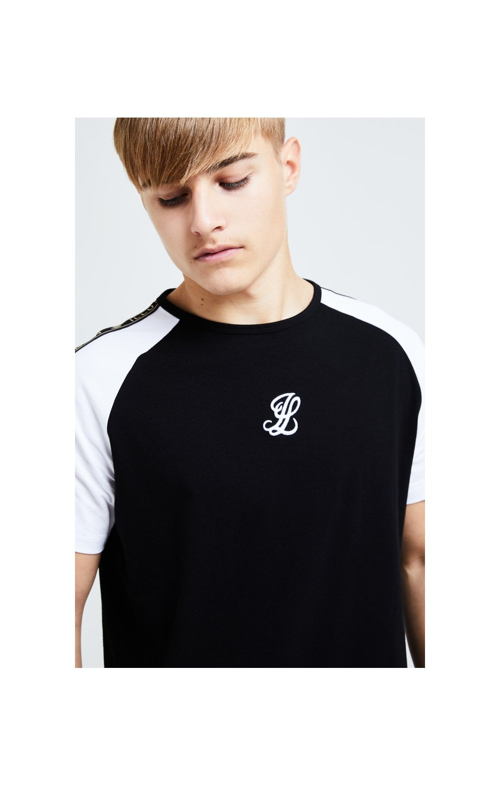Load image into Gallery viewer, Illusive London Diverge Raglan Tee - Black Gold & White (3)