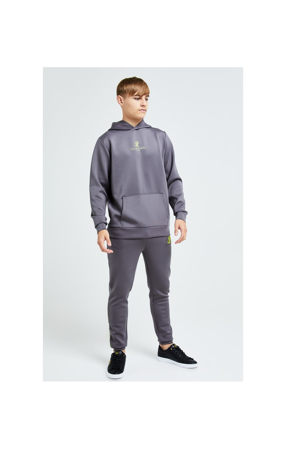 Illusive London Blaze Overhead Hoodie - Dark Grey & Lime (3)