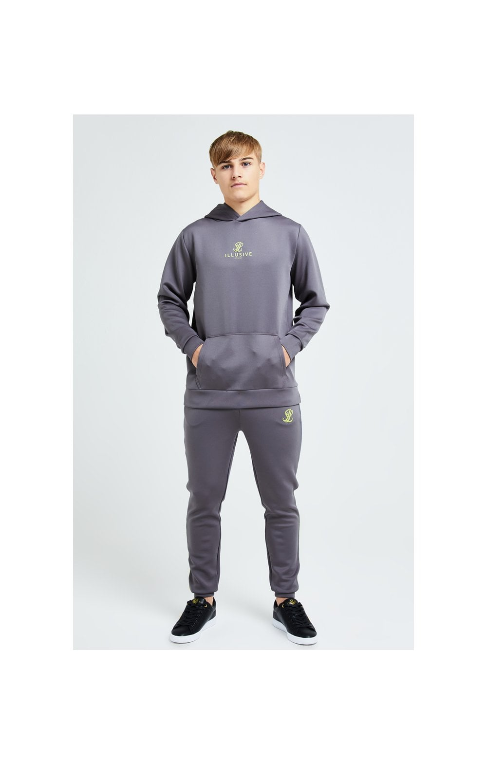 Illusive London Blaze Overhead Hoodie - Dark Grey & Lime (4)