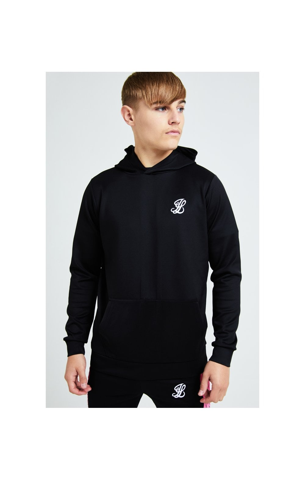Illusive London Flux Taped Overhead Hoodie - Black & Pink (1)