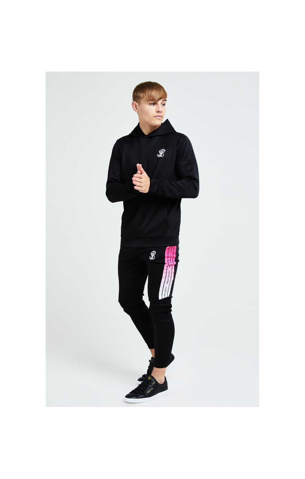 Illusive London Flux Taped Overhead Hoodie - Black & Pink (2)