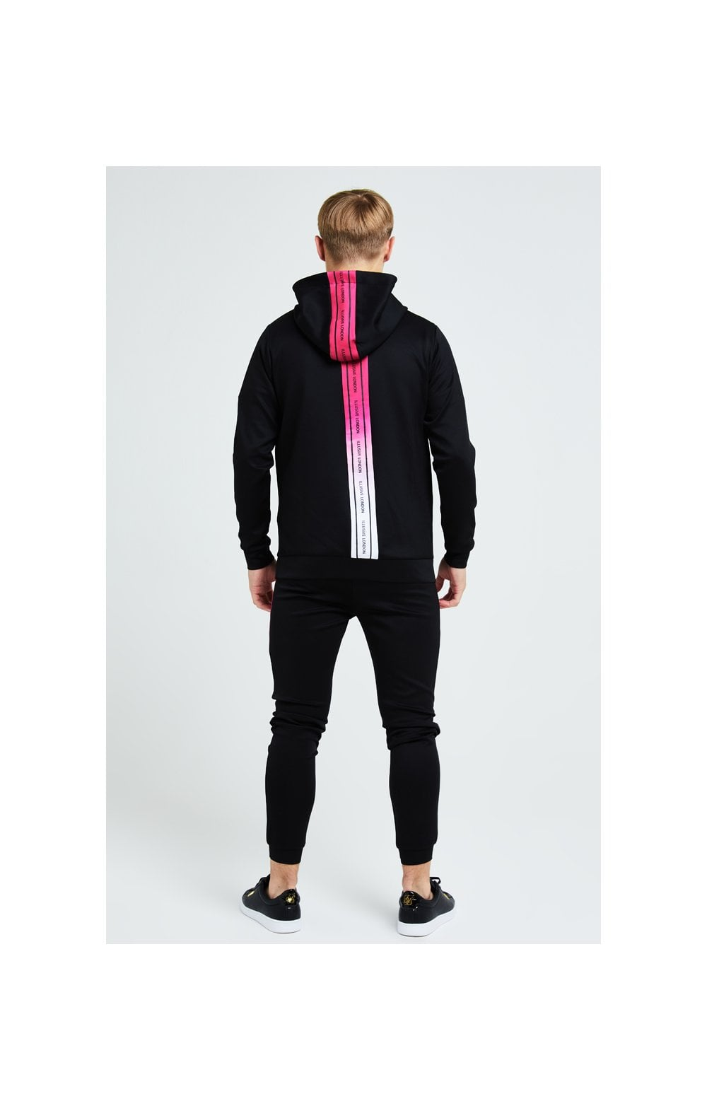Illusive London Flux Taped Overhead Hoodie - Black & Pink (3)