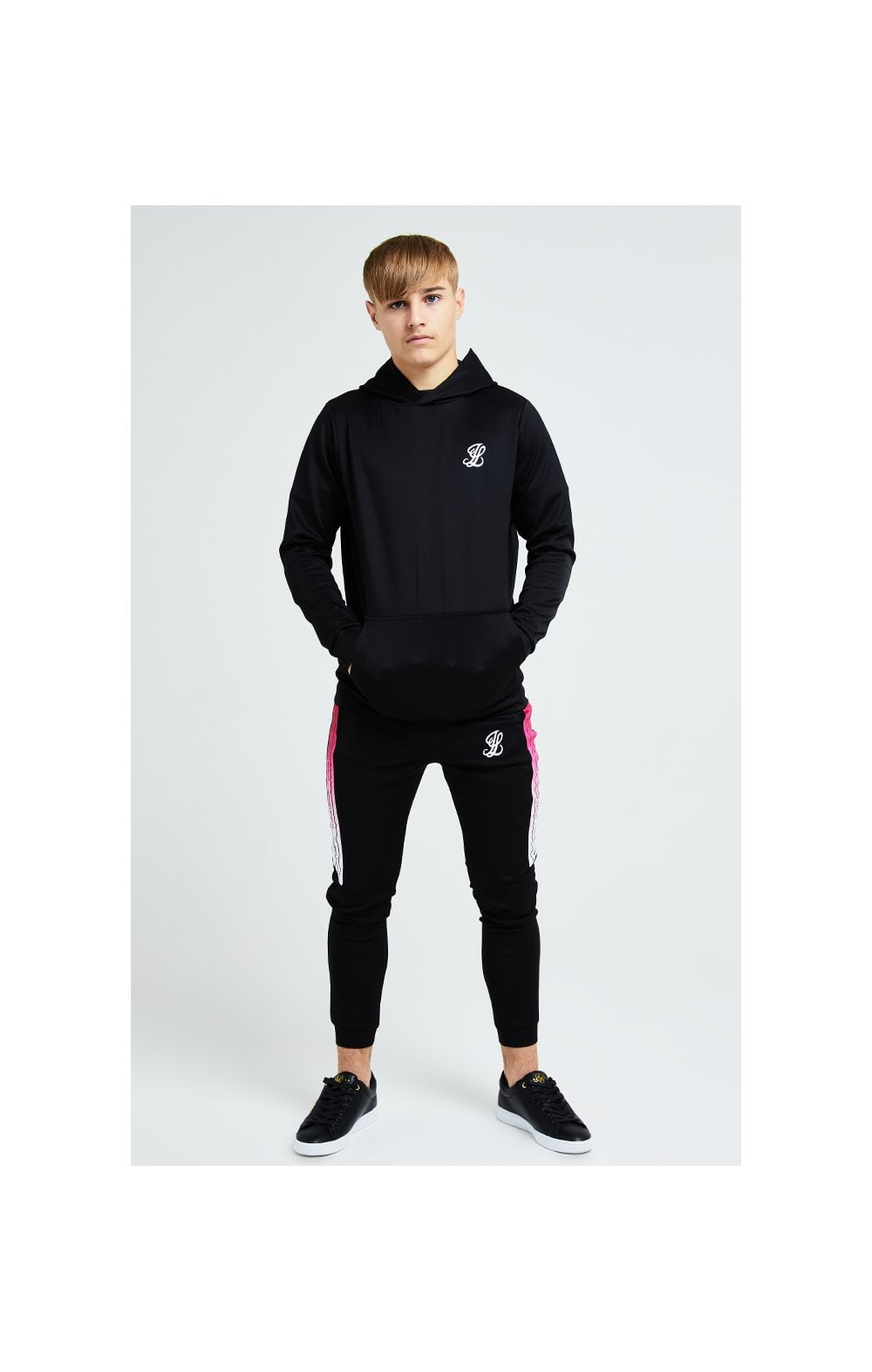 Illusive London Flux Taped Overhead Hoodie - Black & Pink (5)