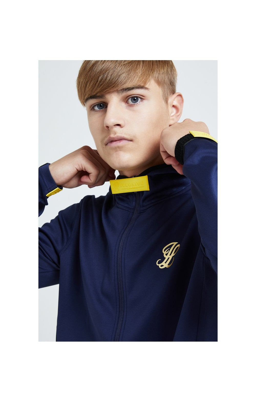 Illusive London Element Agility Zip Through Hoodie - Navy Gold & Yellow