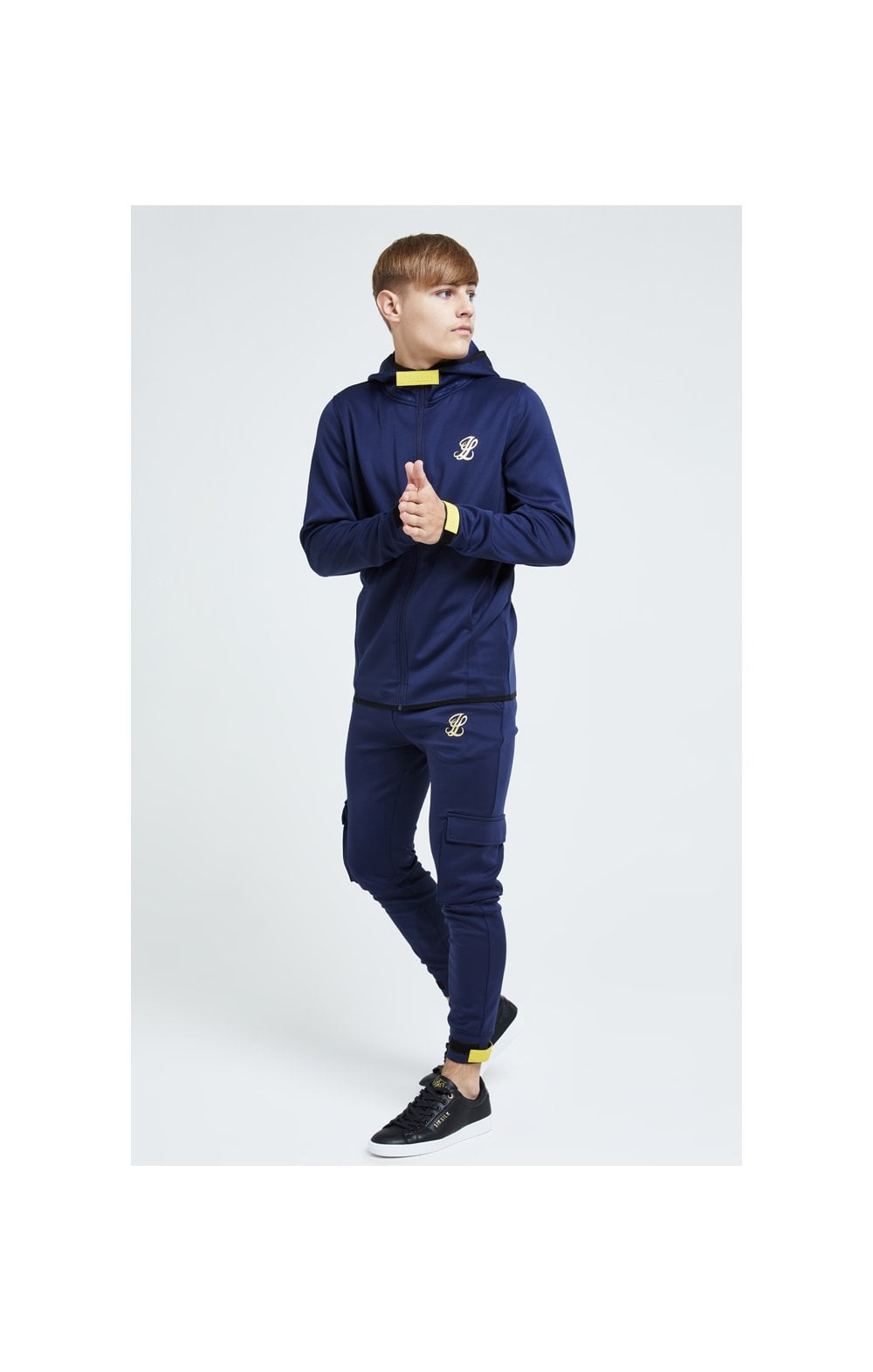 Illusive London Element Agility Zip Through Hoodie - Navy Gold & Yellow (2)