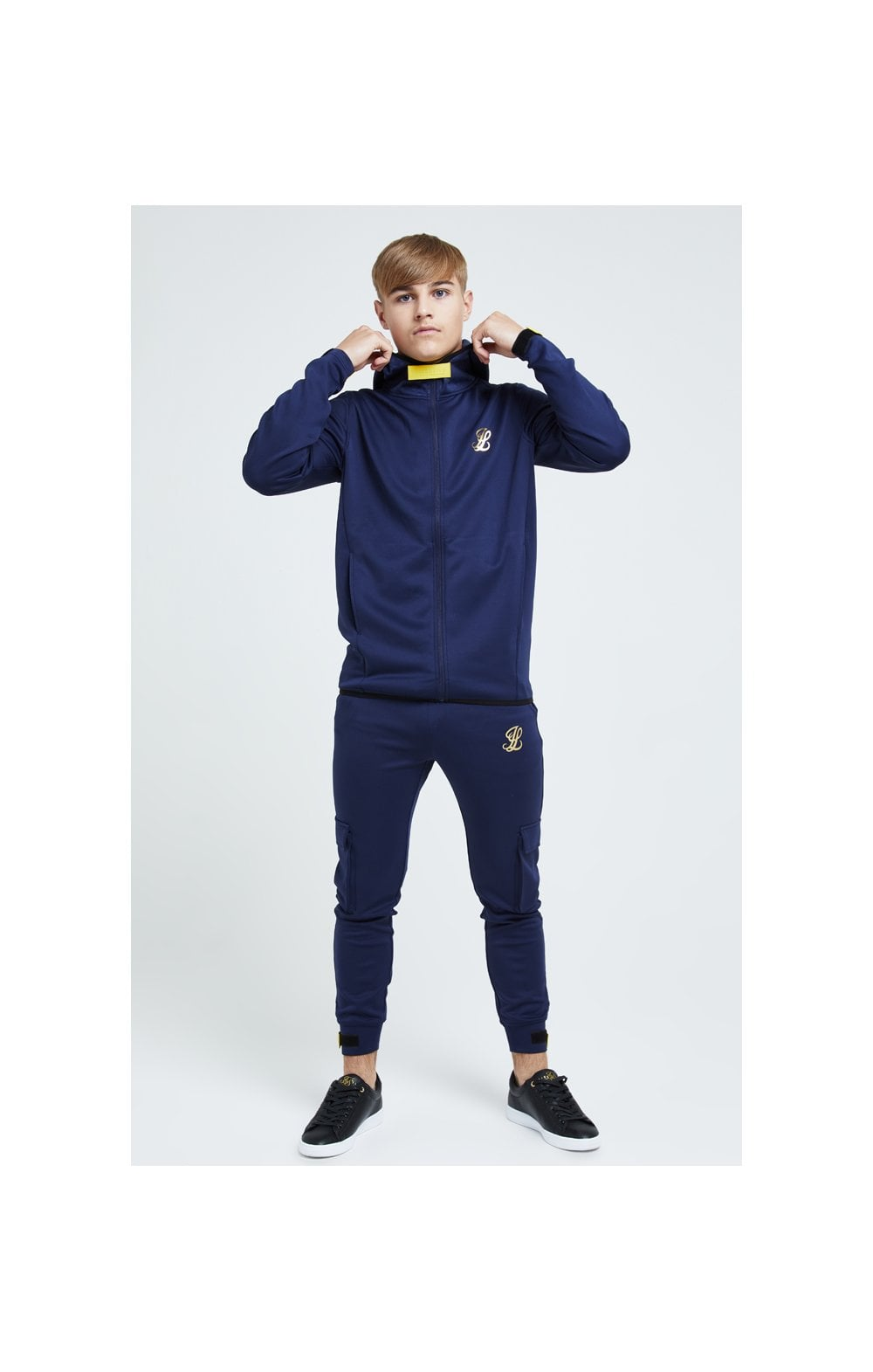 Illusive London Element Agility Zip Through Hoodie - Navy Gold & Yellow (4)