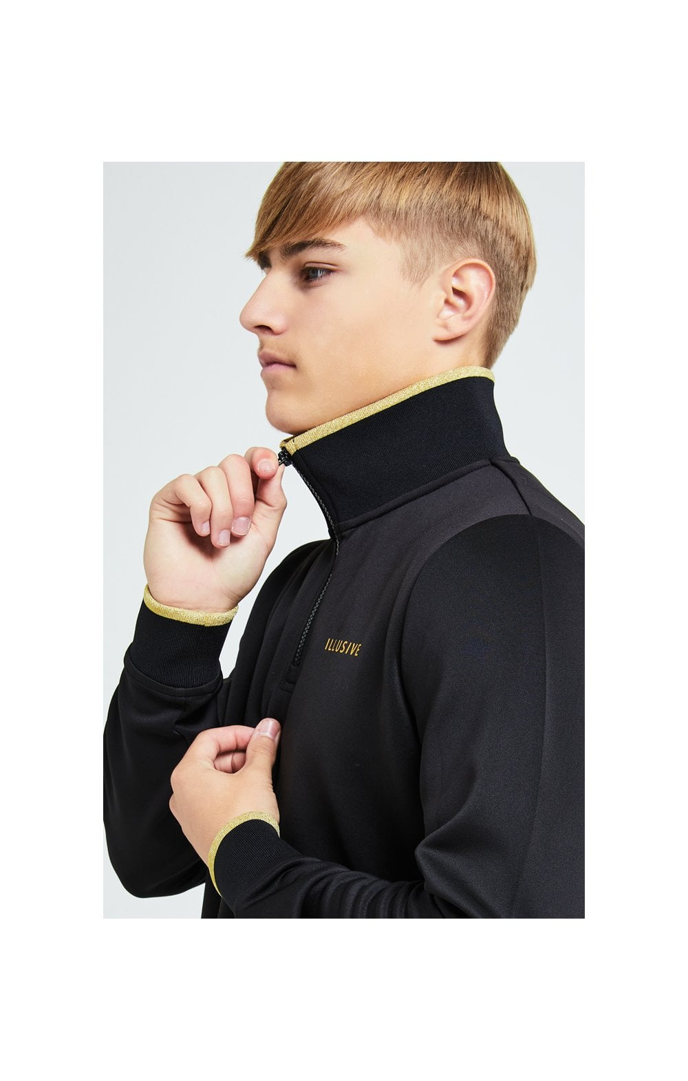 Illusive London Sovereign 1/4 Zip Hoodie  - Black & Gold