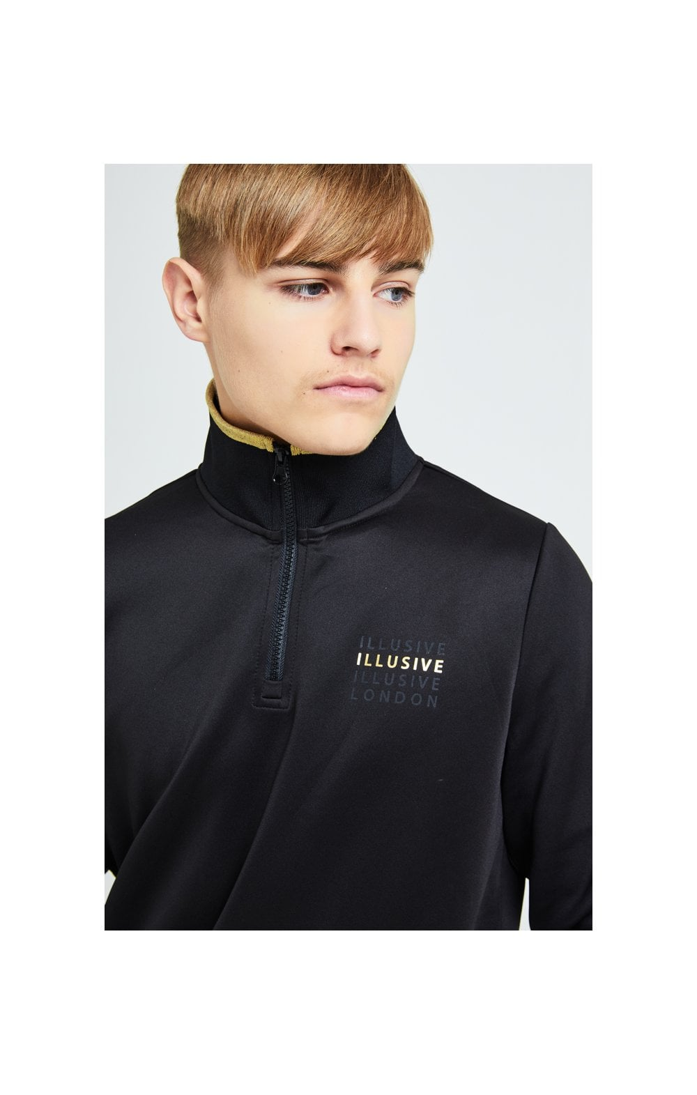 Load image into Gallery viewer, Illusive London Sovereign 1/4 Zip Hoodie  - Black & Gold (1)
