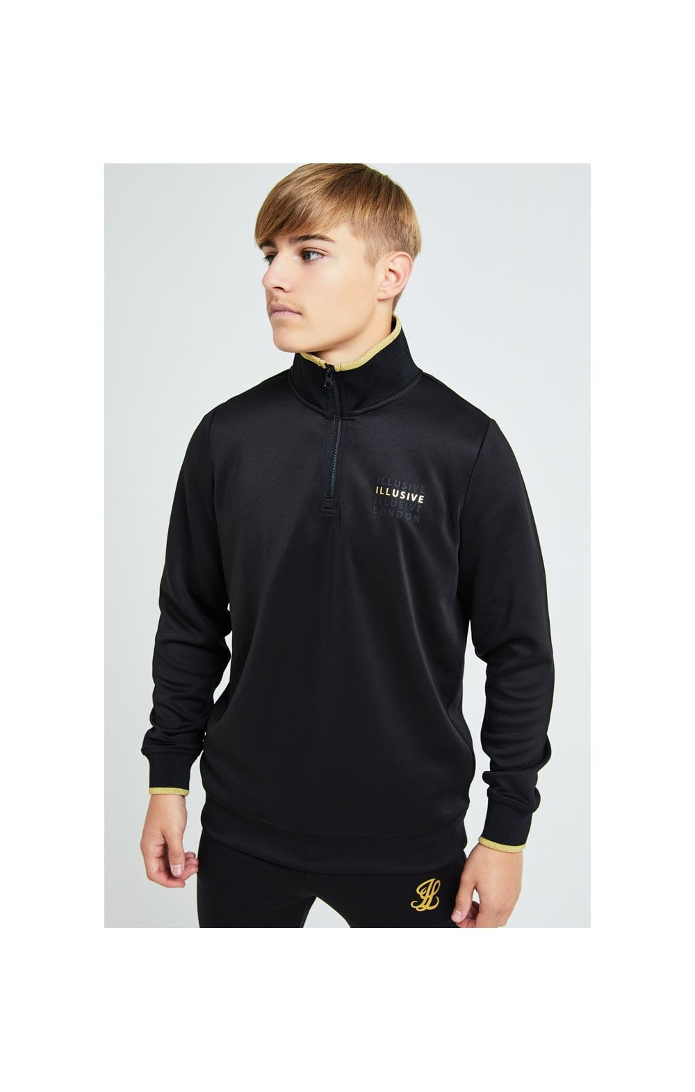 Load image into Gallery viewer, Illusive London Sovereign 1/4 Zip Hoodie  - Black & Gold (2)