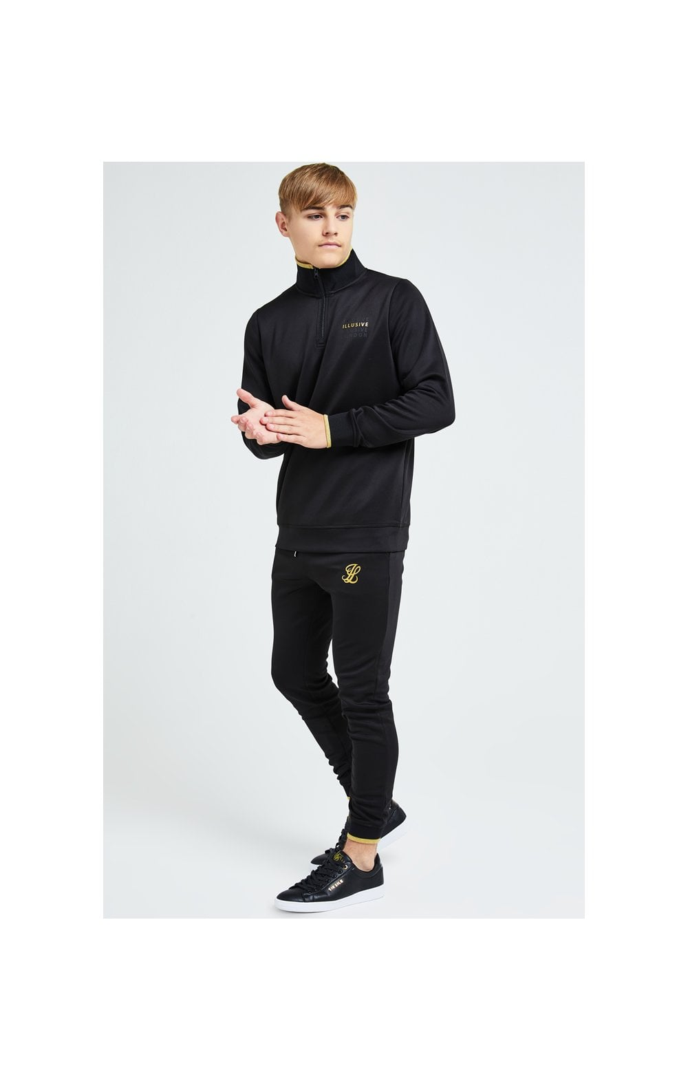 Load image into Gallery viewer, Illusive London Sovereign 1/4 Zip Hoodie  - Black & Gold (3)