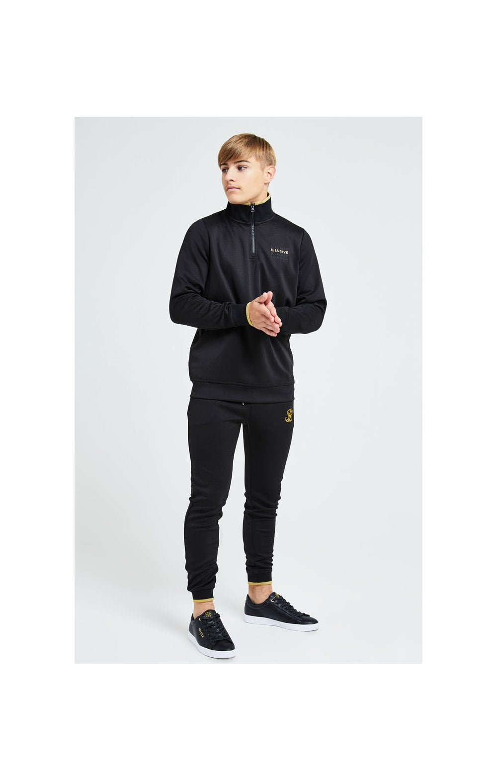 Load image into Gallery viewer, Illusive London Sovereign 1/4 Zip Hoodie  - Black & Gold (5)