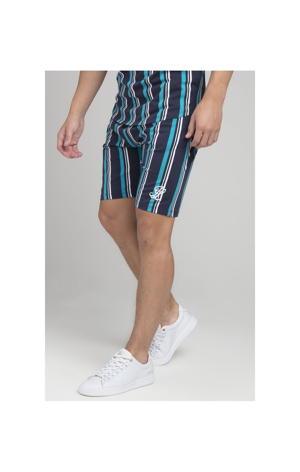 Illusive London Stripe Shorts - Navy & Teal