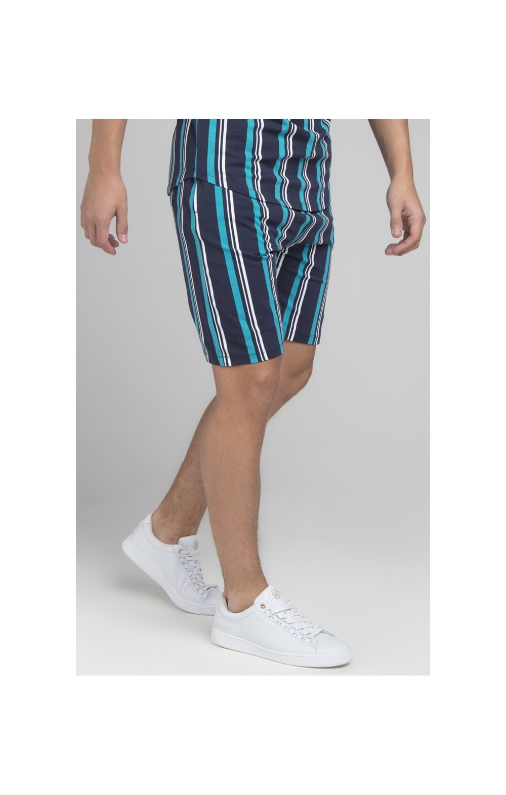 Load image into Gallery viewer, Illusive London Stripe Shorts - Navy & Teal (1)