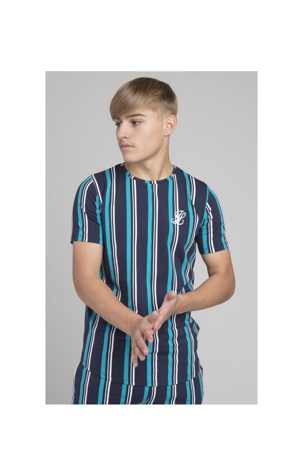 Load image into Gallery viewer, Illusive London Stripe Tee - Navy & Teal