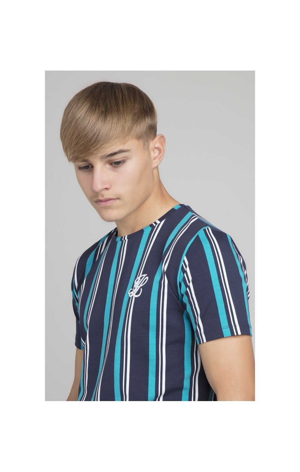 Load image into Gallery viewer, Illusive London Stripe Tee - Navy & Teal (1)